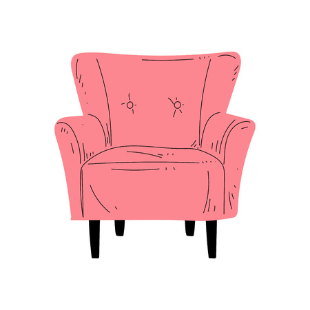 Comfortable Pink Armchair on Wooden Legs, Cushioned Furniture with Upholstery, Interior Design Element Vector Illustration on White Background.
