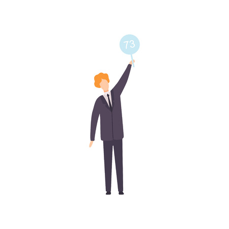 Businessman Bidding in Public Auction House, Bidder Raising Auction Paddle to Buy Piece of Art Vector Illustration on White Background.