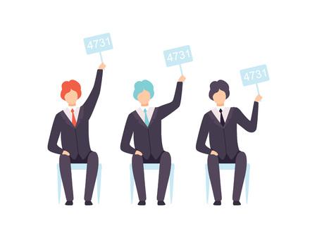 Empresarios pujando en la casa de subastas públicas, postores levantando paletas de subasta para comprar una obra de arte ilustración vectorial