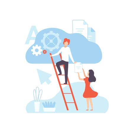 Digital Content Creating, Technology Process of Articles and Media Materials Uploading, Social Media Marketing Vector Illustration on White Background.