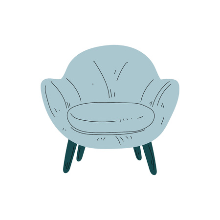 Comfortable Light Blue Armchair on Wooden Legs, Cushioned Furniture with Upholstery, Interior Design Element Vector Illustration on White Background.