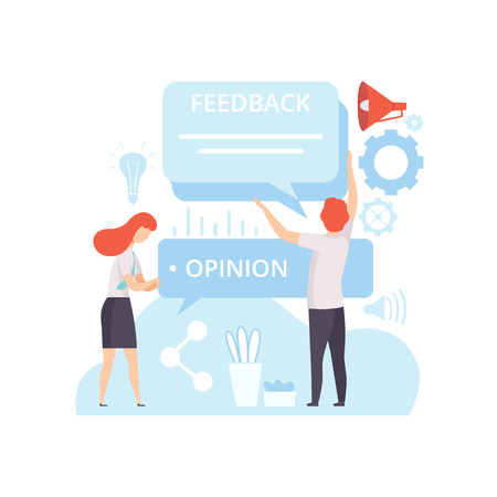 People Creating Digital Content, Client Service Feedback, Technology Process of Software Development, Social Media Marketing Vector Illustration on White Background.