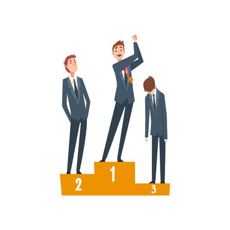 Erfolgreicher Geschäftsmann, der auf Sockel mit Siegerpokal, Teamleiter-Wettbewerb, Führung und Teamwork-Vektor-Illustration auf weißem Hintergrund steht.