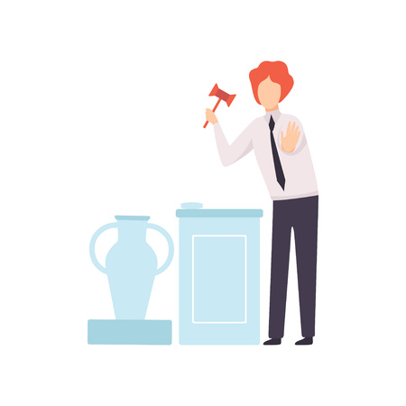Man with Gavel Standing Behind Special Stand and Announcing Price, Auctioneer Selling Ancient Vase Vector Illustration on White Background.