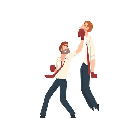 Businessmen Having Fight with Boxing Gloves, Business People Competing Among Themselves, Business Competition Vector Illustration on White Background. 向量圖像