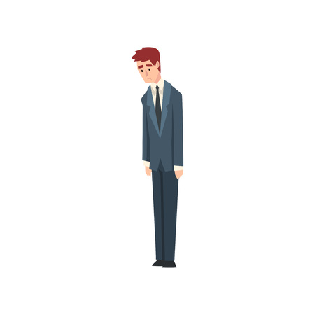 Unlucky Upset Businessman, Business Competition Concept Vector Illustration on White Background.