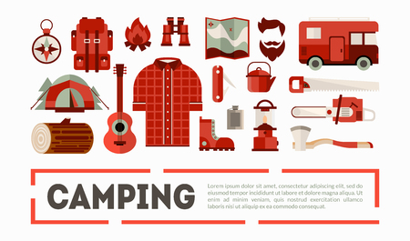 Camping and Hiking Equipment Banner, Outdoor Adventure Symbols Vector Illustration on White Background.
