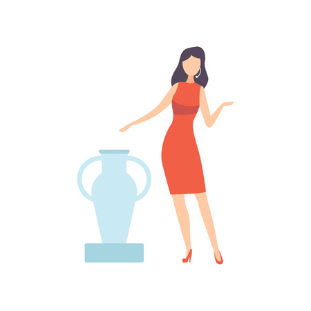 Female Professional Auctioneer Selling Ancient Vase in Art Gallery, Auction Process Vector Illustration on White Background.