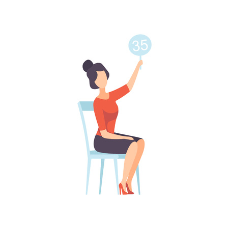 Businesswoman Bidding in Public Auction House, Female Bidder Raising Auction Paddle with Number to Buy Piece of Art Vector Illustration on White Background. Иллюстрация