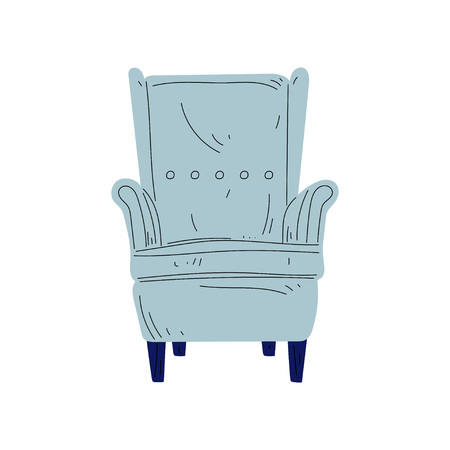 Vintage Armchair on Wooden Legs, Cushioned Furniture with Light Blue Upholstery, Interior Design Element Vector Illustration on White Background.