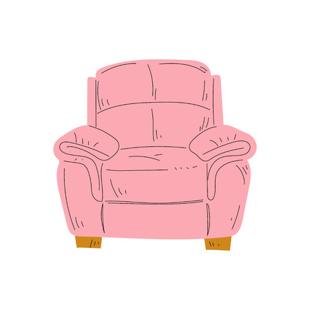Comfortable Armchair, Cushioned Furniture with Pink Upholstery, Interior Design Element Vector Illustration on White Background.