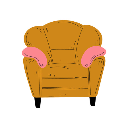 Comfortable Armchair with Pillows, Cushioned Furniture with Ochre Upholstery, Interior Design Element Vector Illustration on White Background.