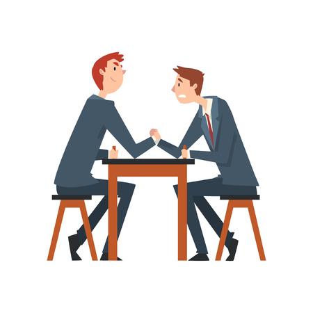 Two Businessmen Arm Wrestling, Business People Competing Among Themselves, Business Competition Vector Illustration on White Background. Ilustração Vetorial