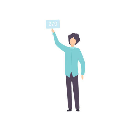 Man Bidding in Public Auction House, Bidder Raising Auction Paddle with Number to Buy Piece of Art Vector Illustration on White Background.