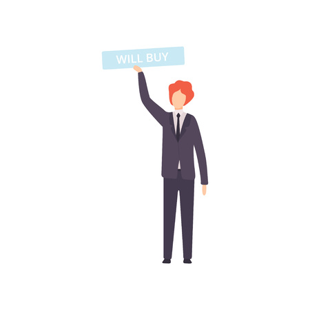 Businessman Bidding in Public Auction House, Male Bidder Raising Signboard with Will Buy Lettering Vector Illustration on White Background. Ilustração