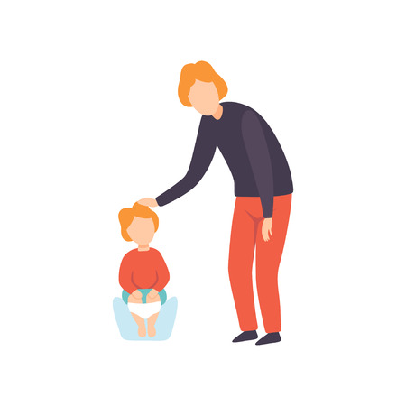 Cute Little Toddler Baby Sitting on Potty, Parent Taking Care of His Child Vector Illustration on White Background.
