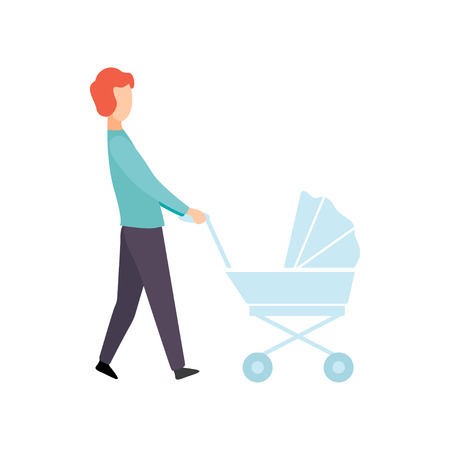 Father Walking with Baby Stroller, Parent Taking Care of His Child Vector Illustration on White Background.