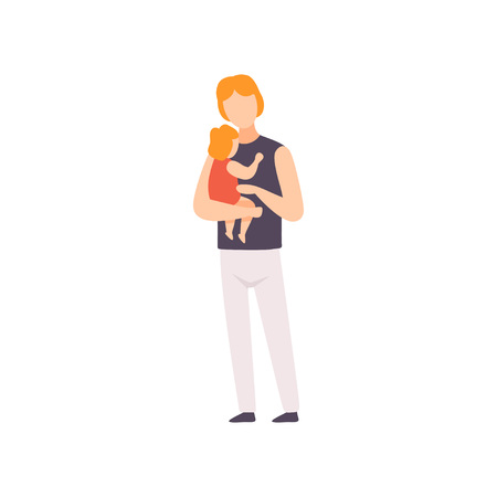 Father Holding Toddler Baby on His Hands, Parent Taking Care of His Child Vector Illustration on White Background.
