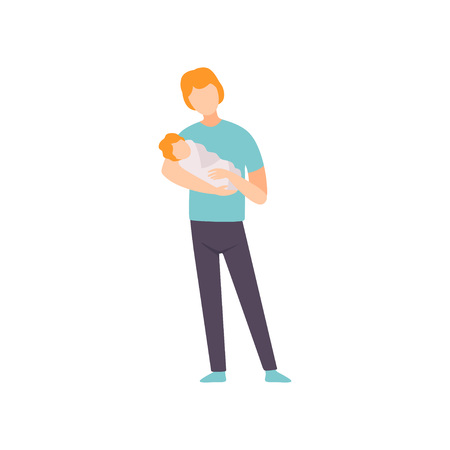 Father Holding Newborn Baby on His Hands, Parent Taking Care of His Child Vector Illustration on White Background.