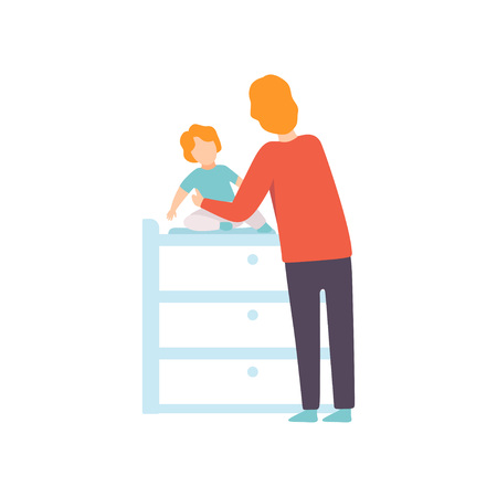Father Dressing His Toddler Baby on Changing Table, Parent Taking Care of His Child Vector Illustration on White Background.