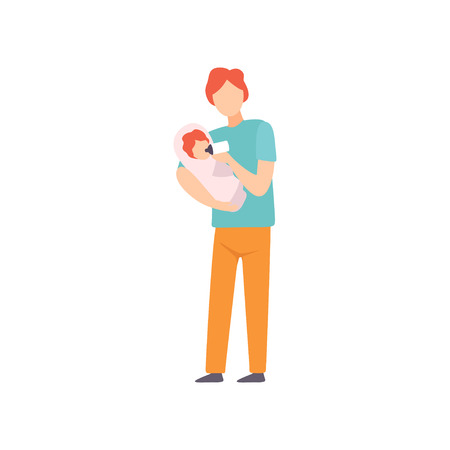 Father Feeding Little Baby with Milk Bottle, Parent Taking Care of His Child Vector Illustration on White Background.