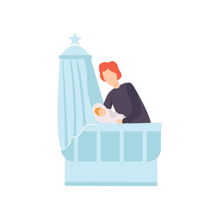 Father Putting His Newborn Baby to Bed, Parent Taking Care of His Child Vector Illustration on White Background.