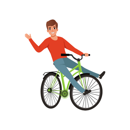 Man riding a bike and waving his hand, active lifestyle concept vector Illustrations isolated on a white background.
