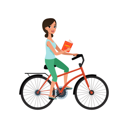 Young beautiful woman riding bicycle with book in her hand, active lifestyle concept vector Illustrations isolated on a white background.