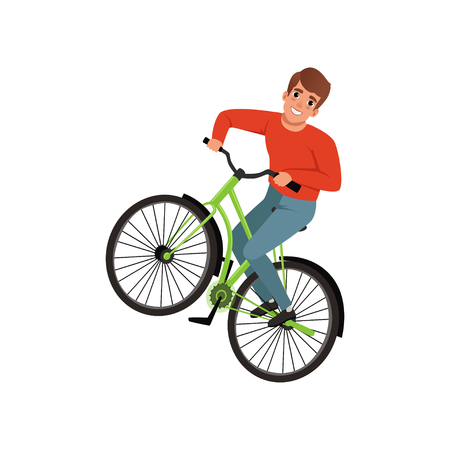 Smiling male bicyclist riding a bike, active lifestyle concept vector Illustrations isolated on a white background.