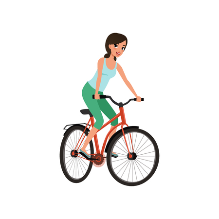 Young woman cycling her bike, active lifestyle concept vector Illustrations isolated on a white background. Ilustrace