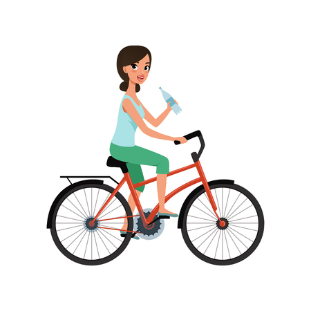 Young woman riding bicycle and holding bottle of water, active lifestyle concept vector Illustrations isolated on a white background.