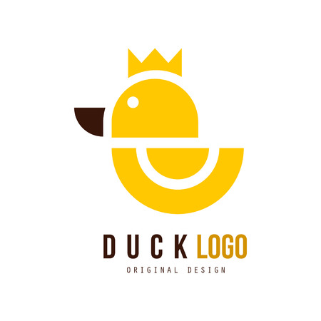 Duck logo original design, badge with yellow rubber duck for your own design vector Illustration on a white background