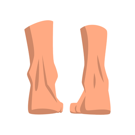 Human feet standing, back view vector Illustration on a white background Illustration