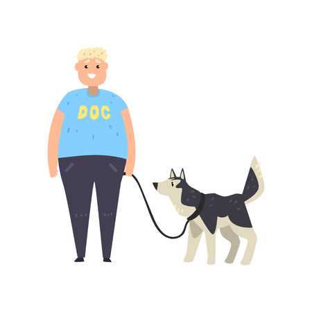 Fat guy walking his husky dog vector Illustration isolated on a white background. Foto de archivo - 124101074