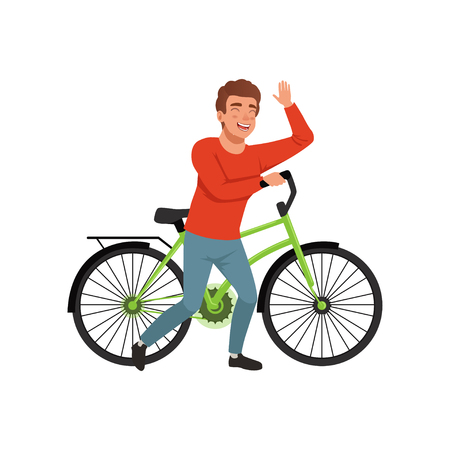 Cyclist rider man with bike, active lifestyle concept vector Illustrations isolated on a white background. Ilustrace