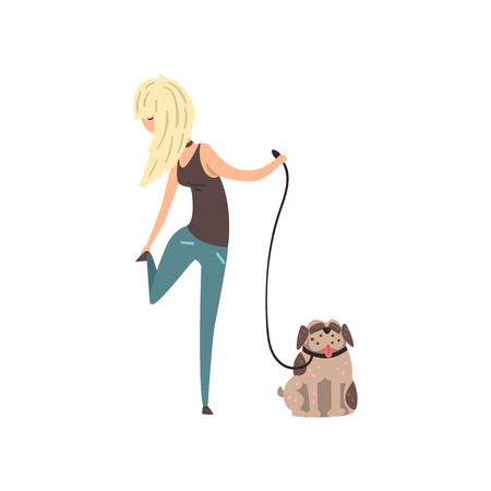 Blonde girl walking her pug dog vector Illustration isolated on a white background.