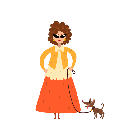 Elegant woman walking with her small pet dog vector Illustration isolated on a white background. Ilustração