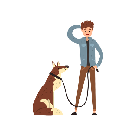 Young man walking his pet dog vector Illustration isolated on a white background. Stock Vector - 124101079