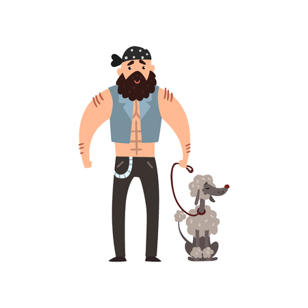 Brutal man walking his poodle pet dog vector Illustration isolated on a white background.
