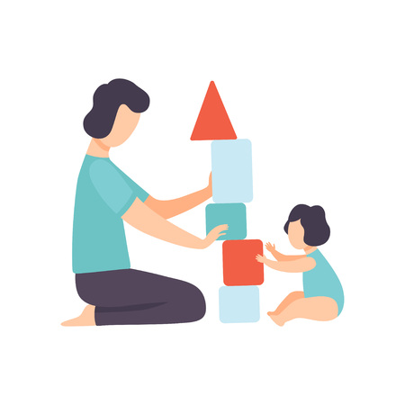 Father Playing Toy Cubes with His Toddler Baby, Dad and His Kid Having Good Time Together Vector Illustration on White Background. Banque d'images - 124101086