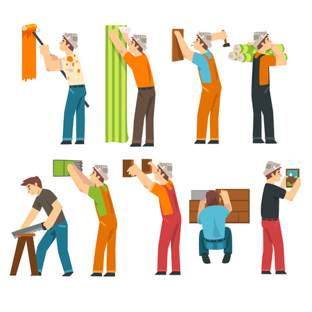 Professional Workers Set, Handymen Characters Working with Equipment Vector Illustration on White Background.