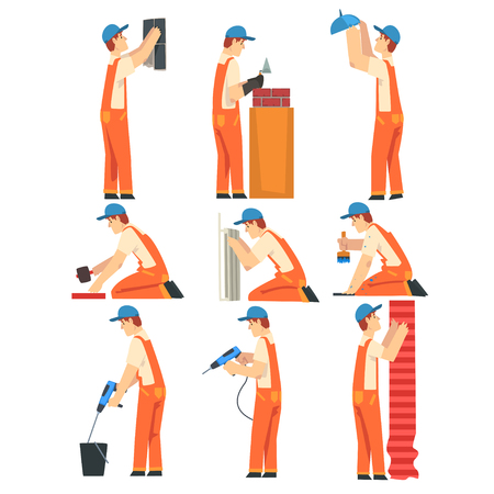 Different Professional Builders Set, Electrician, Carpenter, Painter, Plumber, Male Construction Workers Characters in Orange Overalls and Blue Caps Working with Equipment Vector Illustration on White Background.  イラスト・ベクター素材