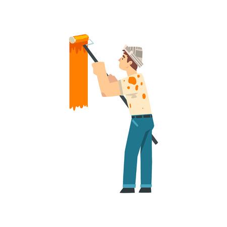 Pintor pintando la pared con rodillo, personaje de trabajador de construcción masculino en tapa de papel con equipo profesional ilustración vectorial sobre fondo blanco.