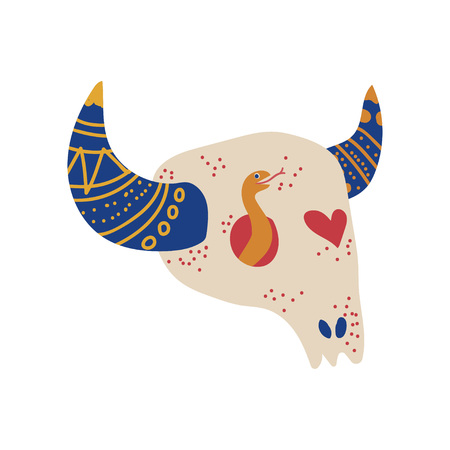 Bull Skull, Boho Style Design Element, Ethnic, Mystic Symbol Vector Illustration on White Background.  イラスト・ベクター素材