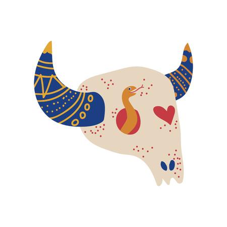 Bull Skull, Boho Style Design Element, Ethnic, Mystic Symbol Vector Illustration on White Background. Illustration
