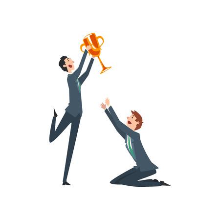 Glücklicher erfolgreicher Geschäftsmann mit Siegerpokal, Geschäftsleute, die unter sich konkurrieren, Business-Wettbewerb-Vektor-Illustration Vektorgrafik