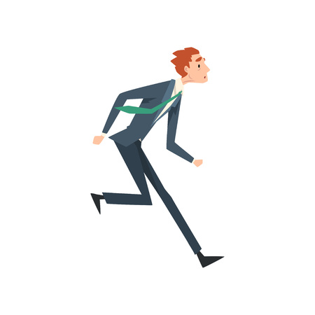 Tired Exhausted Businessman Running, Business Competition Concept Vector Illustration on White Background.