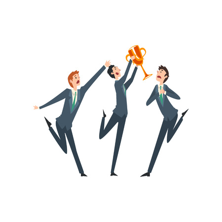 Successful Businessman with Winner Cup, Envious Colleagues Envying His Success Vector Illustration on White Background.