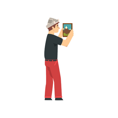 Handyman Hanging Painting on Wall, Male Construction Worker Character in Paper Cap with Professional Equipment Vector Illustration on White Background. Illustration