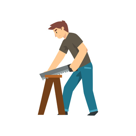 Carpenter Sawing Wood Board, Male Construction Worker Character with Professional Equipment Vector Illustration on White Background.